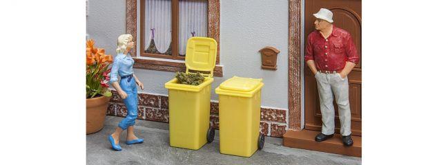 POLA 333225 Mülltonnen gelb | 2 Stück | Bausatz Spur G