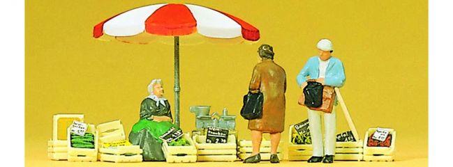 Preiser 10337 Sitzende Marktfrau und Kunden + Zubehör | Miniaturfiguren Spur H0