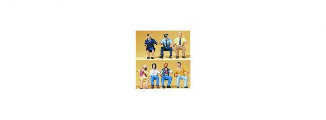 Preiser 10406 Bus- und Straßenbahnpersonal   7 sitzende Miniaturfiguren   Spur H0