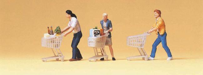 Preiser 10488 Kunden mit Einkaufswagen Figuren Spur H0