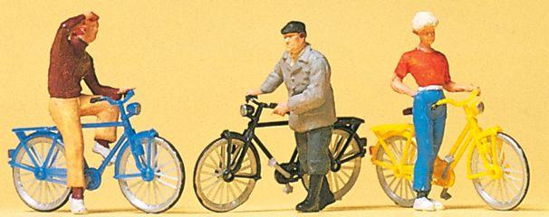Preiser 10515 Stehende Radfahrer am Bahn�übergang   3 Stück   Figuren Spur H0