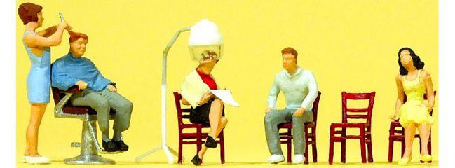 Preiser 10569 Beim Friseur | 5 Miniaturfiguren + Zubehör |  Spur H0