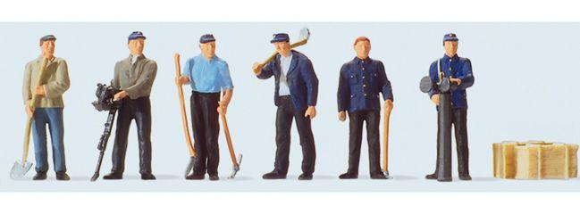 Preiser 10602 Stehende Gleisbauarbeiter | 6 Miniaturfiguren | Spur H0
