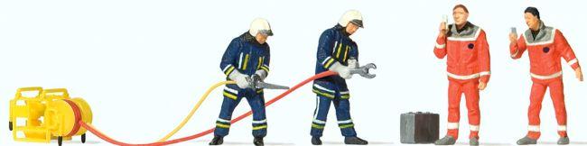 Preiser 10625 Feuerwehrmänner in moderner Einsatzkleidung | 4 Miniaturfiguren + Zubehör | Spur H0