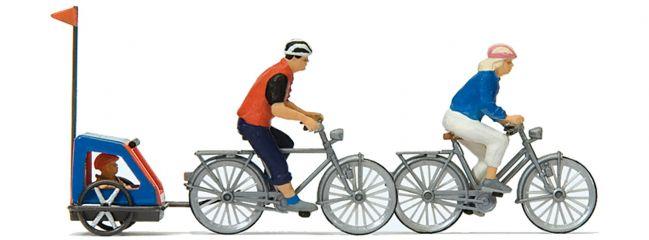 Preiser 10638 Familie auf Radtour   Miniaturfiguren mit Fahrrad und Hänger   Spur H0