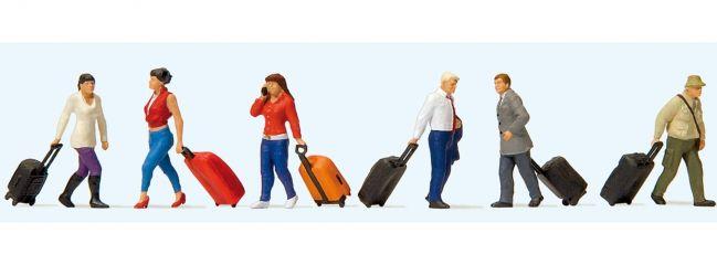 Preiser 10640 Gehende Reisende mit Trolleys | Miniaturfiguren | Spur H0
