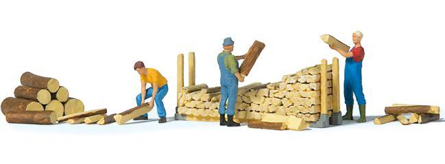 Preiser 10707 Beim Stapeln von Brennholz | 3 Miniaturfiguren | Spur H0