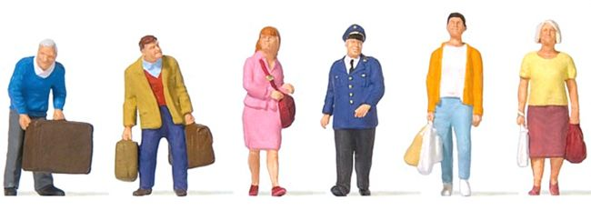 Preiser 10710 Reisende am Bahnsteig   6 Stück   Figuren Spur H0