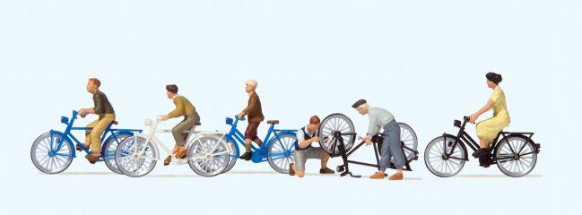 Preiser 10716 Jugendliche mit dem Fahrrad   Miniaturfiguren 1:87