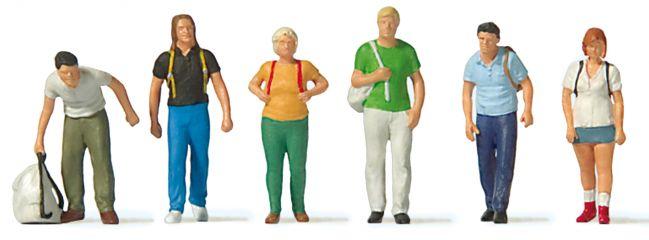 Preiser 10725 Bahnreisende mit Rucksack | 6 Miniaturfiguren | Spur H0
