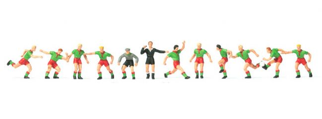 Preiser 10757 Fussballmannschaft mit grünem Trikot 12 Figuren Fertigmodell 1:87