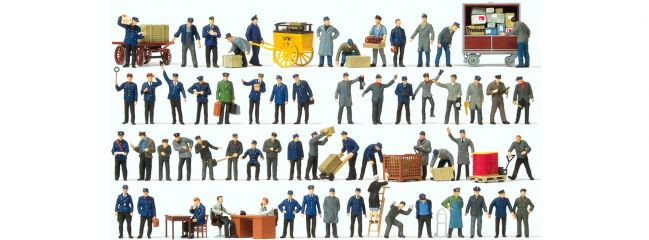 Preiser 13004 Bahnpersonal und Gü�terbodenpersonal | 1 Set | Figuren Spur H0