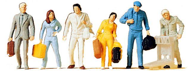 Preiser 14000 Gehende Reisende | 6 Miniaturfiguren | Spur H0