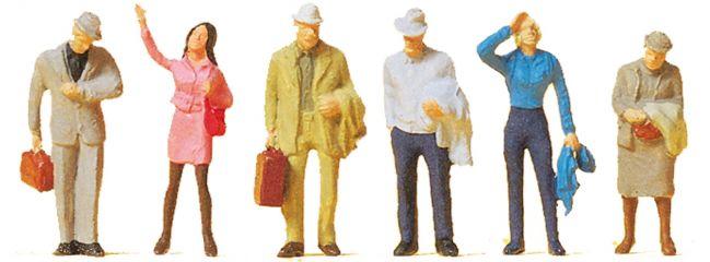 Preiser 14088 Wartende Reisende | 6 Miniaturfiguren | Spur H0