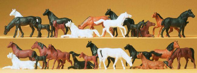 Preiser 14407 Pferde | 26 Stück Miniaturfiguren Spur H0