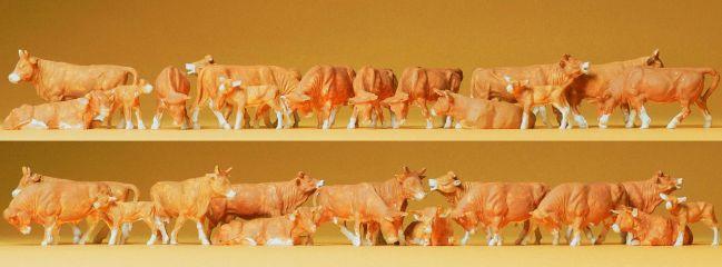 Preiser 14409 Kühe braun | 30 Miniaturfiguren | Spur H0