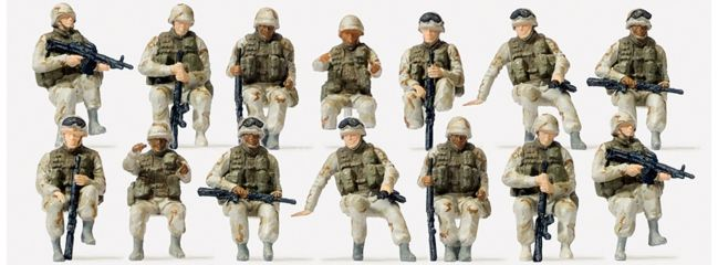 Preiser 16564 US-Army Soldaten | 14 unbemalte Miniaturfiguren Spur H0