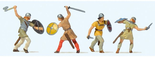 Preiser 24762 Kämpfende Ritter | 4 Stück | Figuren Spur H0