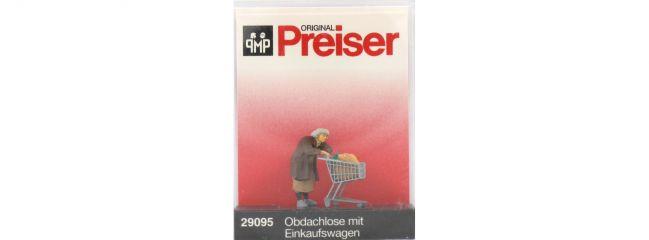 Preiser 29095 Obdachlose mit Einkaufswagen Figur Spur H0