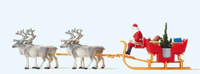 Preiser 30399 Weihnachtsschlitten mit 4 Rentieren | Figurenset 1:87