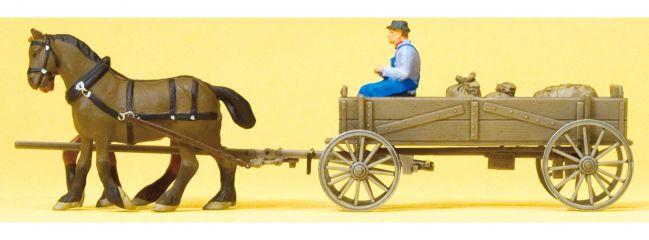 Preiser 30411 Kastenwagen mit Pferden + Bauer | Miniaturfiguren H0