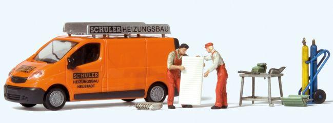 Preiser 33259 Opel Vivaro Schuler Heitungsbau mit 2 Monteure und Zubehör   Miniaturmodell 1:87