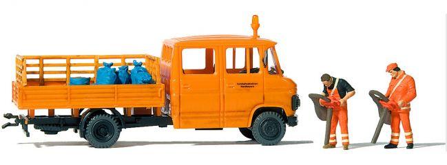 Preiser 33262 MB L407D Straßenmeisterei mit 2 Figuren   Automodell 1:87