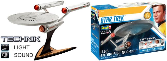 Revell 00454 Star Trek USS Enterprise NCC-1701 | Sound + Licht | Technik Bausatz 1:600