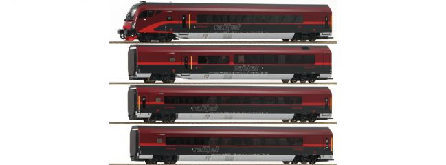 ausverkauft | Roco 64190 Personenwagen-Set 4-tlg. Railjet ÖBB | AC-Digital | Spur H0
