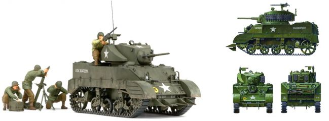 TAMIYA 35313 Amerikanischer Panzer M5A1 +  4 Figuren | WW II Bausatz 1:35