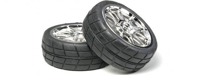 TAMIYA 53956 Räder | Reifen + Felge chorm | 10-Speichen | 24 mm | 2 Stück