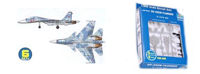 TRUMPETER 756230 Sukhoi Su-33UB Flanker 6 Stück für Flugzeugträger Bausatz 1:350