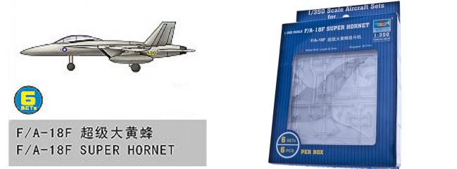 TRUMPETER 756235 Boeing F/A-18F Super Hornet 6 Stück für Flugzeugträger Bausatz 1:350