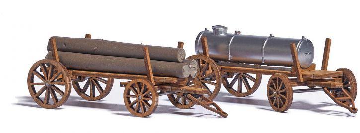 BUSCH 1386  Holzwagen 2 Stück LaserCut Bausatz Spur H0