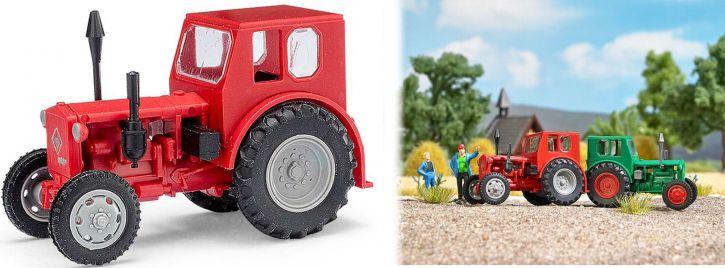 BUSCH Mehlhose 210006403 Traktor Pionier rot mit grauen Felgen Landwirtschaftsmodell 1:87