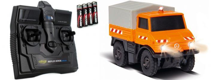 CARSON 500504125 MB Unimog U406 Kommunal | 2.4GHz | RC Auto 1:87 Spur H0