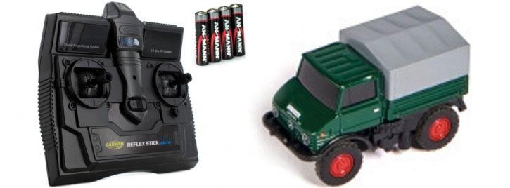 CARSON 500504126 MB Unimog U406 Forst | 2.4GHz | RC Auto 1:87 Spur H0
