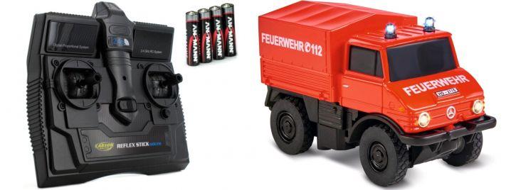 CARSON 500504139 Unimog U406 Feuerwehr 2.4GHz | RC Auto 1:87 Spur H0