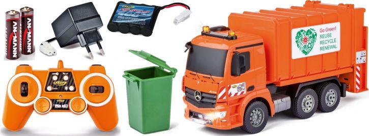 ausverkauft | CARSON 500907297 Mercedes Müllwagen 2.4GHz | Komplett-RTR | RC Spielzeug