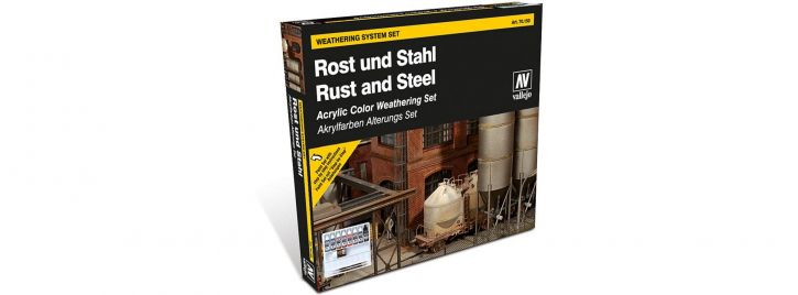 VALLEJO 770150 Farbset Rost und Stahl   8x 17 ml