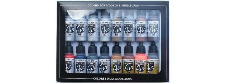 VALLEJO 771181 Farbset Metall-Effekte   16x 17 ml