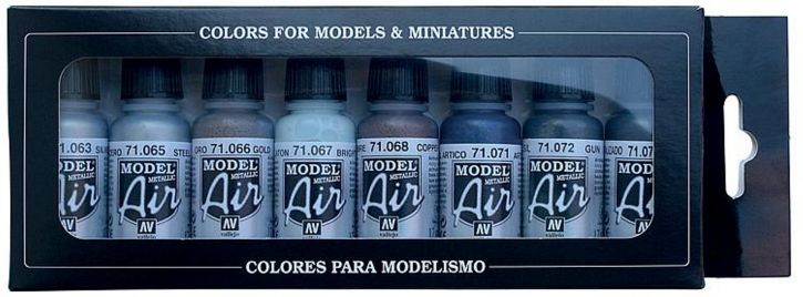 VALLEJO 771176 Farbset Metallic-Farben 8 x17ml