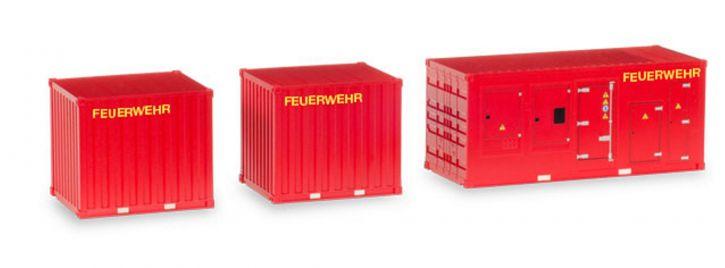 herpa 076807 1x Stromaggregat und  2x10ft Container Feuerwehr Zubhörset 3tlg 1:87