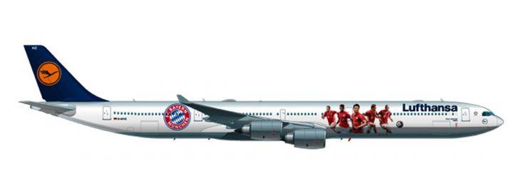 herpa 558242 Airbus A340-600 Lufthansa FC Bayern Audi Summer Tour USA 2016 Flugzeugmodell 1:200