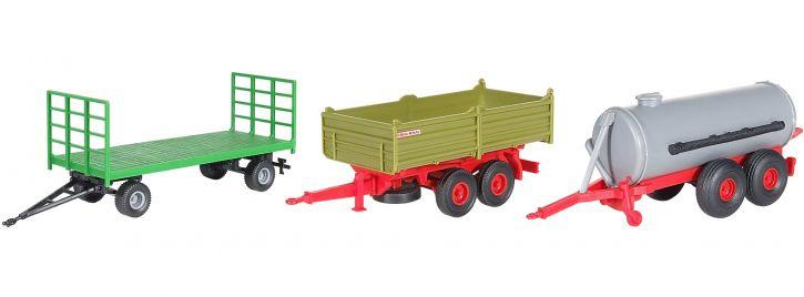 kibri 10908 Landwirtschaftliches Anhänger-Set, 3 Stück Bausatz Spur H0