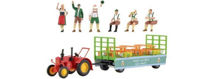 kibri 12226 LANZ Traktor mit Festwagen | Bausatz Spur H0