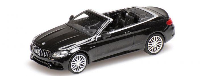 MINICHAMPS 870037030 Mercedes-Benz C63 AMG Cabrio 2019 schwarz-metallic Automodell 1:87