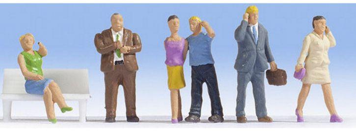 NOCH 15574 Menschen mit Handy | 6 Miniaturfiguren | Spur H0