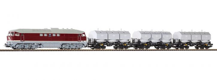 PIKO 58130 Set Diesellok BR 131 mit 3 Kalkkübelwagen | DR | Spur H0