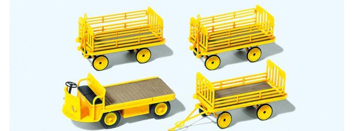 Preiser 17121 Elektrokarre mit 3 Anhängern | DP | Bausatz Spur H0 1:87